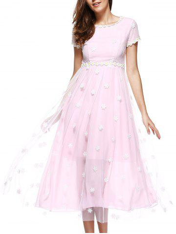 Cheap Snowflake Embroidered Chiffon Swing Formal Dress
