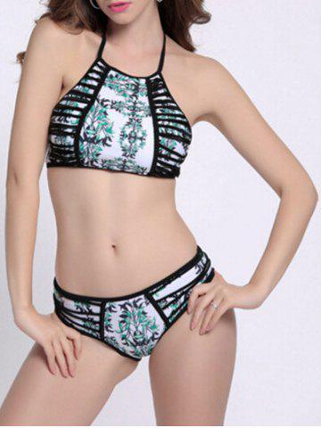Fashion Print Strappy High Neck Halter Bikini Bathing Suit COLORMIX M