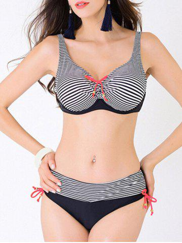 Fashion Plus Size Stripe Bowknot Push Up Bikini - 4XL BLACK Mobile
