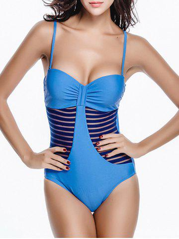 Discount Mesh Panel Bandeau One Piece Swimsuit with Underwire MEDIUM BLUE XL