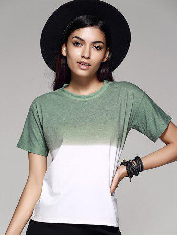 Buy Fashion Ombre Color Block Loose T Shirt