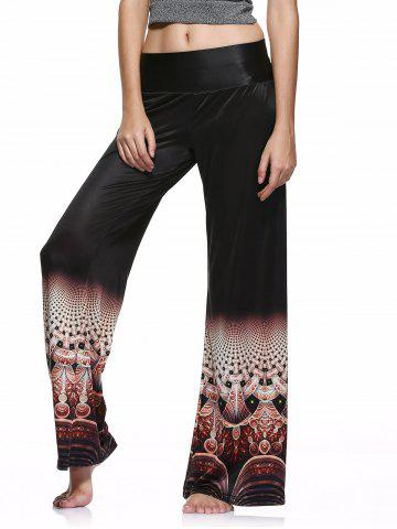 Elastic Waist Colorful Printed Loose-Fitting Palazzo Pants - Black - S