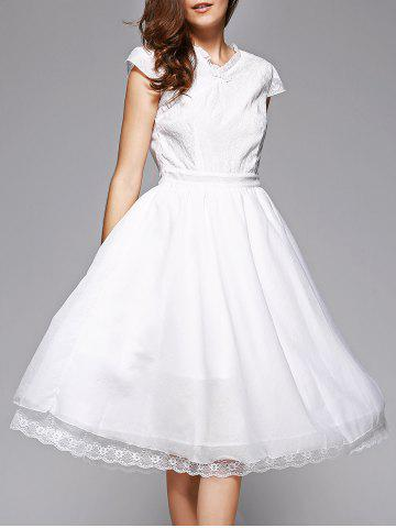 Trendy Trendy Lace Spliced V-Neck White Midi Dress For Women WHITE XL
