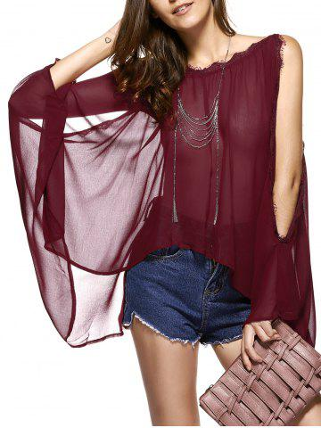 Affordable Batwing Sleeves Laciness See-Through Chiffon Blouse WINE RED 2XL