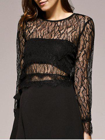 Chic Bell Sleeves Lace Openwork Blouse