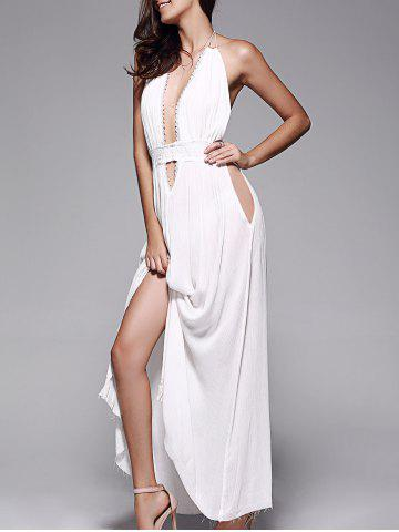 Discount Plunge Halter Long Backless Swing Prom Dress