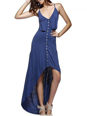 Sale Single-Breasted Backless Cross High-Low Ruffled Dress DEEP BLUE 2XL