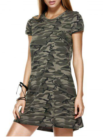 Sale Fashionable Short Sleeves Round Collar Camo Printing Dress For Women