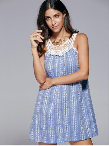 Chic Sleeveless Openwork Print Dress BLUE XL