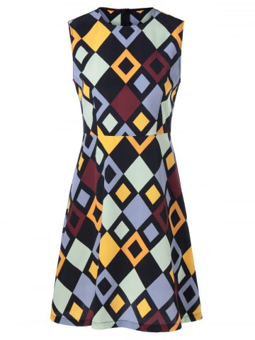 Sale Fashionable Fitted Round Neck Checkered Print Dress For Women