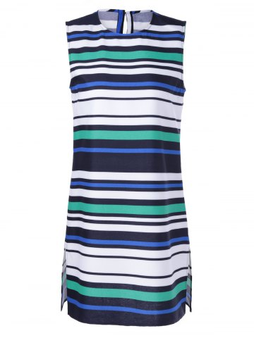 Sale Fashionable Fitted Round Neck Stripe Print Dress For Women WHITE + BLUE + GREEN XL