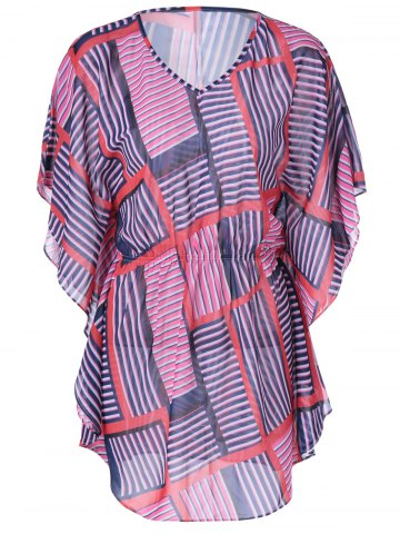 Online Fashionable Slimming V-Neck Geometric Print Dress For Women BLUE AND PINK L