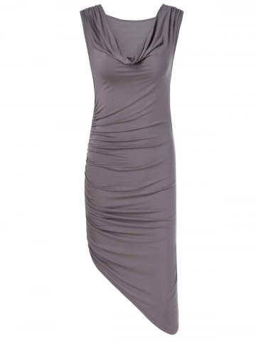 Fancy Fashionable Fitted Pleated Cowl Neck Low-Cut Dress For Women