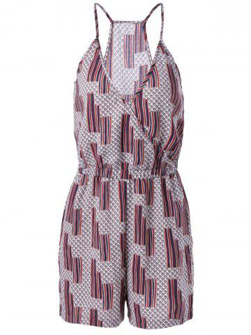 Fancy Ethnic Style Loose-Fitting Spaghetti Strap Geometric Print Romper For Women COLORMIX L