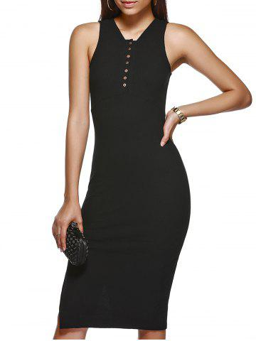 Outfit Trendy V Neck Solid Color Buttoned Bodycon Dress