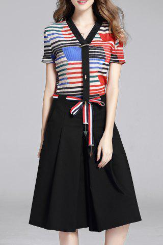 Online Stripes T-Shirt and Culotte Pants Twinset