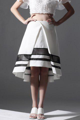Fashion Color Block High-Low Skirt
