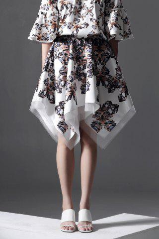Fancy Butterfly Print Irregular Hem Skirt