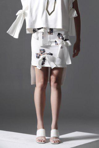 Hot Butterfly Print Bowknot High-Low Skirt