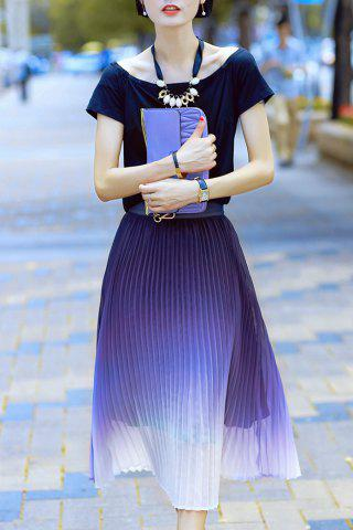 Scoop Neck T-Shirt and Ombre Pleated Midi Skirt - Colormix - L