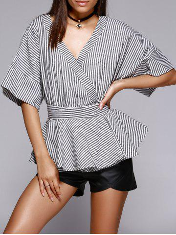Fashion Trendy Striped Color Block Kimono Blouse