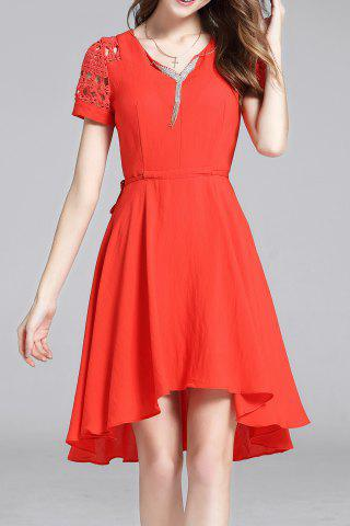 Trendy Hollow Out Solid Color Irregular Hem Dress