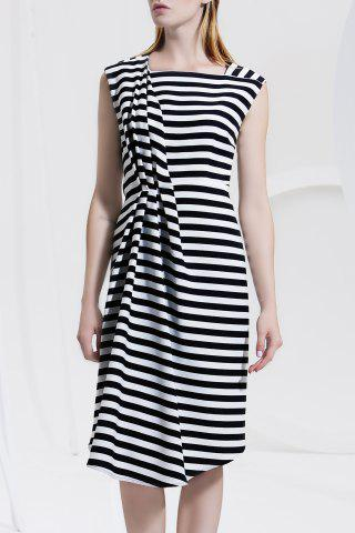 Latest Asymmetric Striped Ruched Sleeveless Dress