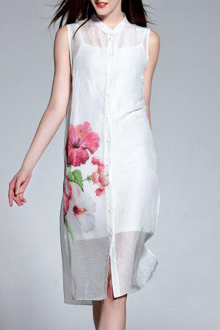 Fashion Sleeveless Buttoned Dress and Cami Dress Suit