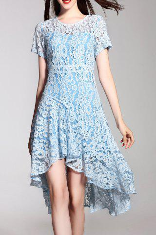 Discount Lace High Low Short Sleeve Dress