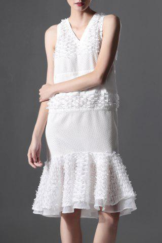 Outfit Gazue Spliced White Mermaid Dress