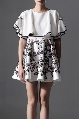 Cheap Butterfly Sleeve Printed Puffball Dress