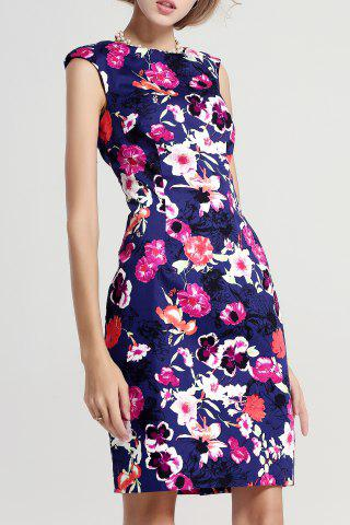 Cheap Floral Print Mini Sheath Dress
