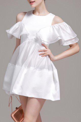 Cold Shoulder Ruffle Mini Dress - White - M