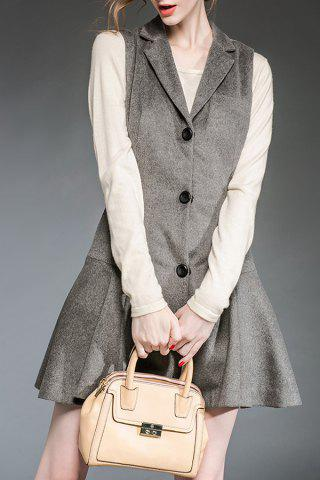 Affordable Lapel Gray Single Breasted Winter Dress