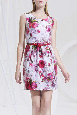 Outfit Flower Print Ruched Sleeveless Dress