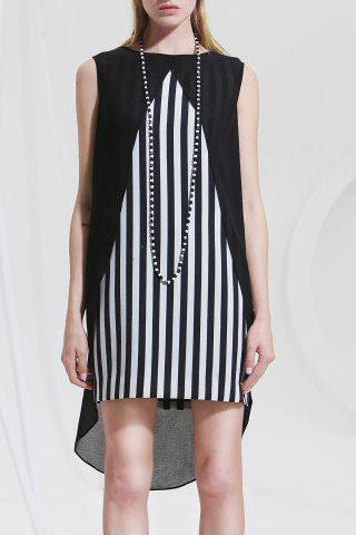 Outfit Asymmetric Striped Sleeveless Dress