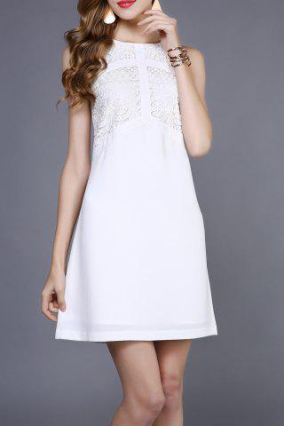 Affordable Lace Splicing Sleeveless Casual Wedding Dress