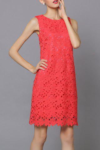 Fancy Lace Sleeveless Pure Color Dress