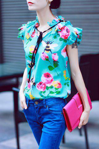 Best Ruffle Floral Print Silk Top - S GREEN Mobile