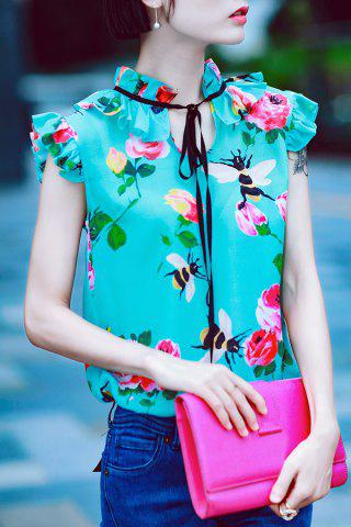 Unique Ruffle Floral Print Silk Top GREEN S