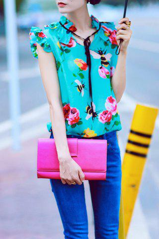 Outfits Ruffle Floral Print Silk Top - S GREEN Mobile