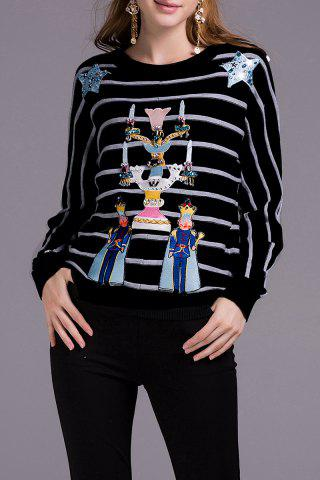 Shops Beaded Striped Sweater