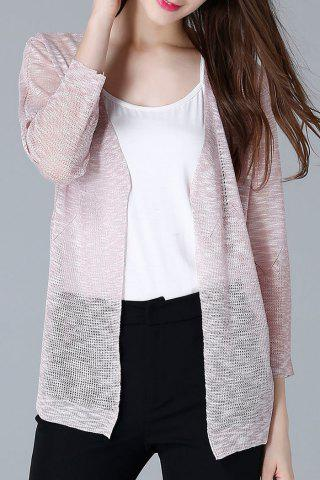New Collarless Open Front Sheer Cardigan