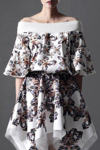 Buy Flare Sleeve Off The Shoulder Butterfly Print T-Shirt