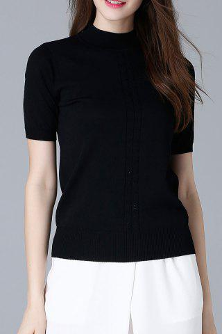 Fashion High Neck Knit Slim Tee