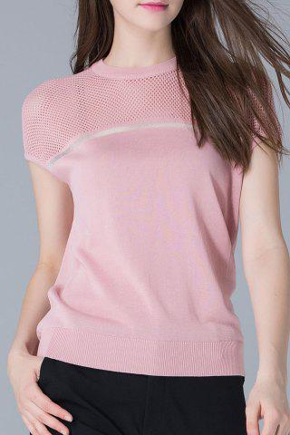 Affordable Crew Neck Cutwork Knit Tee SHALLOW PINK XL
