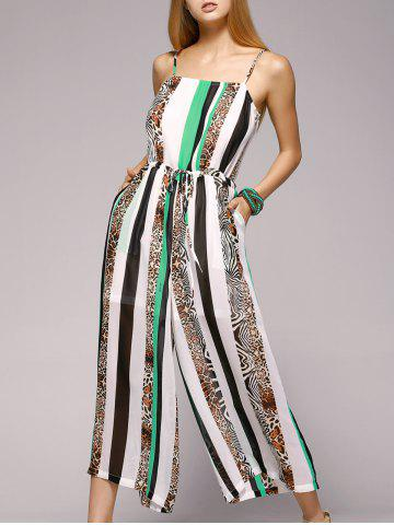Trendy Spaghetti Strap Striped Jumpsuit with Pockets WHITE/GREEN XL