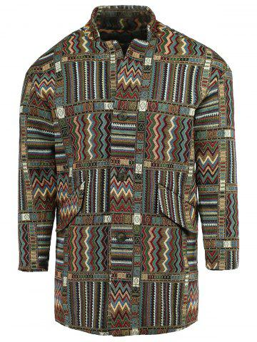 Outfits Ethnic Style Lapel Geometric Print Long Sleeve Coat For Men COLORMIX XL