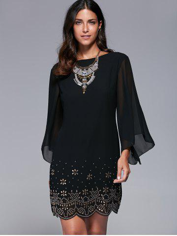 Discount Bell Sleeve Scalloped Long Sleeve Shift Dress