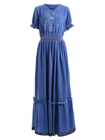 New V Neck Long Frill Trim Denim Dress BLUE M